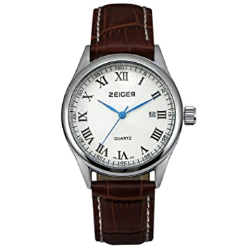 zeiger classical men watch r numerals date watch waterproof zeiger classical men watch r numerals date watch waterproof genuine brown leather band watch for man