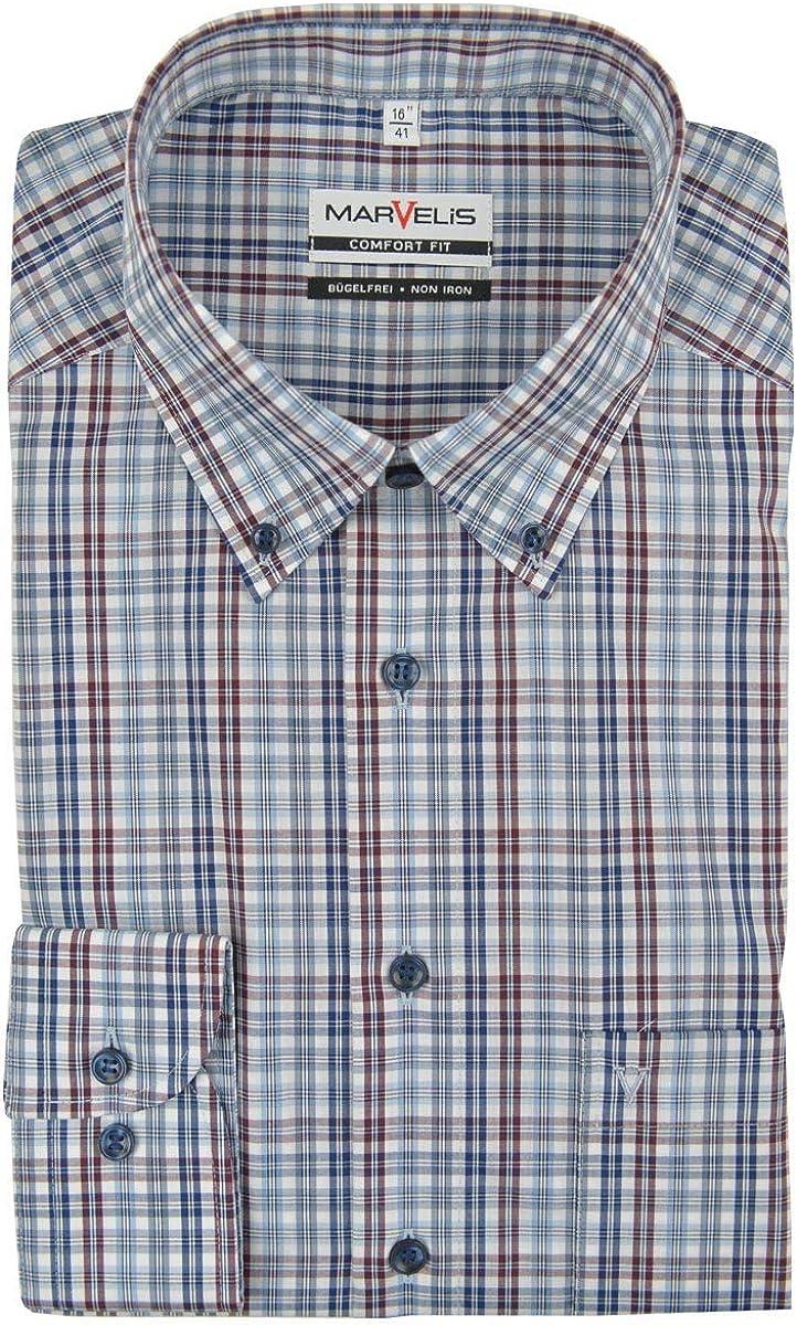 Marvelis Comfort Fit Camisa Button Down Cuello no Necesita Planchado Cuadros Azul Gris Burdeos Puro algodón: Amazon.es: Ropa y accesorios
