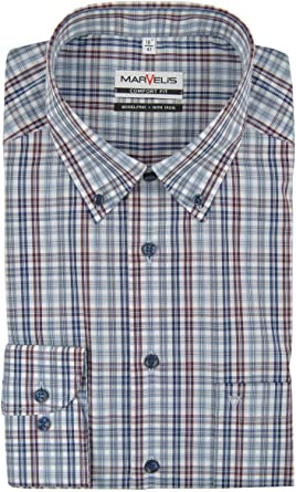 Marvelis Comfort Fit Camisa Button Down Cuello no necesita ...