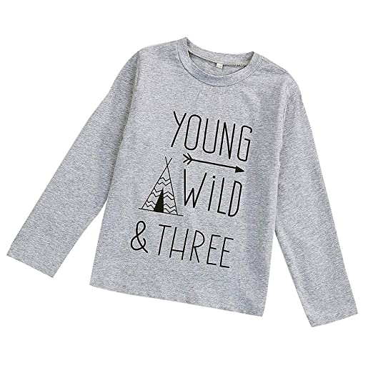 bc9a6a57b93 Children Kids Baby Boy Letter Print Long Sleeve T-Shirt Tee Tops Clothes  Outfits Gray
