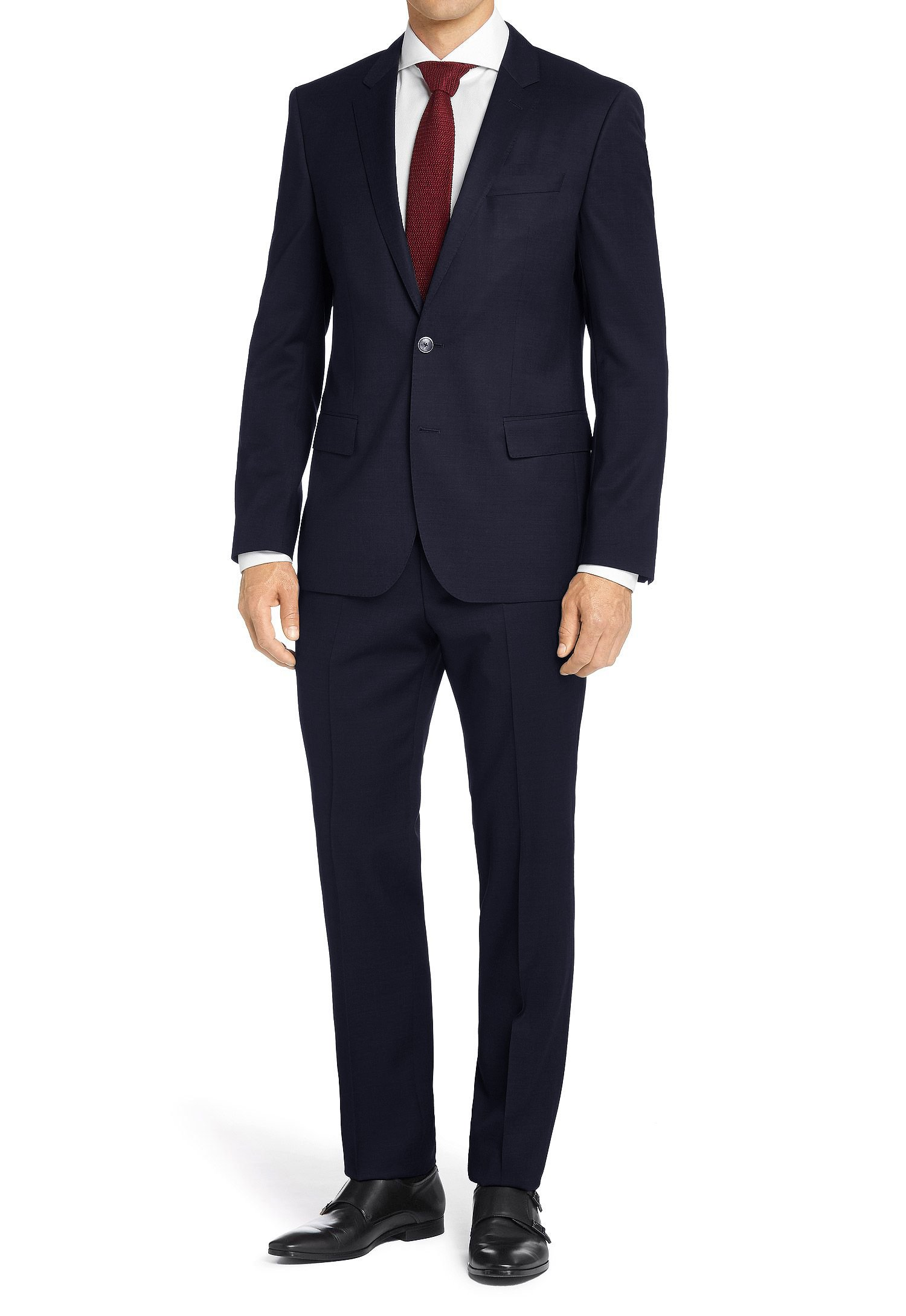 MDRN Uomo Mens Classic Fit 2 Piece Suit, Navy, Size 50Lx44W