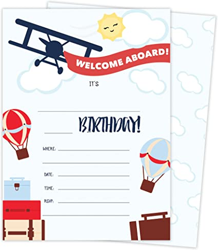 Airplane Style 1 Happy Birthday Invitations Invite Cards (25 Count) with Envelopes and Seal Stickers Boys Girls Kids Party (25ct)