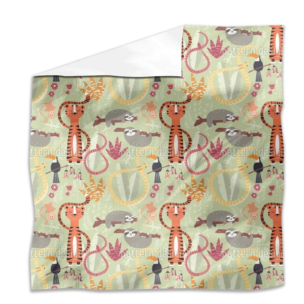 Group of Jungle Animals Flat Sheet: King Luxury Microfiber, Soft, Breathable