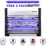 Electric Bug Zapper, iSiLER Indoor Insect Killer, 2800V Grid 20W Bulbs Mosquito Killer with UV Light Trap 6000sq.ft Coverage for Home Commercial Industrial Use, Free 2-Pack Replacement Bulbs Included