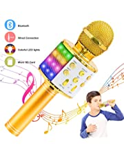 $20 » Verkstar Wireless Bluetooth 4 in 1 Karaoke Microphone, Portable Handheld Karaoke Machine Speaker Birthday Home Party Player with Record Function Christmas for Android & iOS All Devices (Gold)