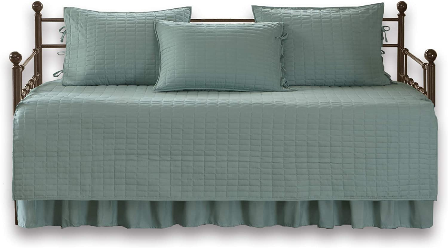 "Comfort Spaces Kienna Soft Microfiber Solid Blush Stitched Pattern 5 Piece Quilt Daybed Bedding Sets, 75""x39"", Seafoam"