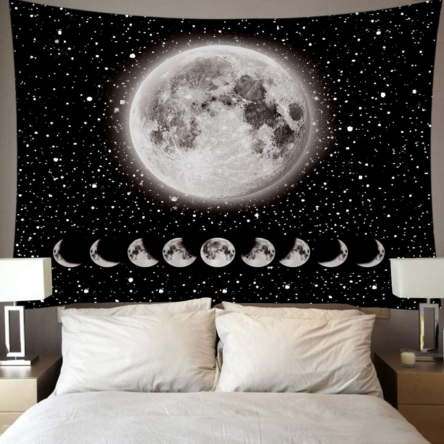 Moon Tapestry,Rarebit Lunar Eclipse Tapestry Universe Stars Space TapestryBlack and WhiteTapestry Starry Night Tapestry Wall Hanging for Bedroom Living Room Decor(51.2