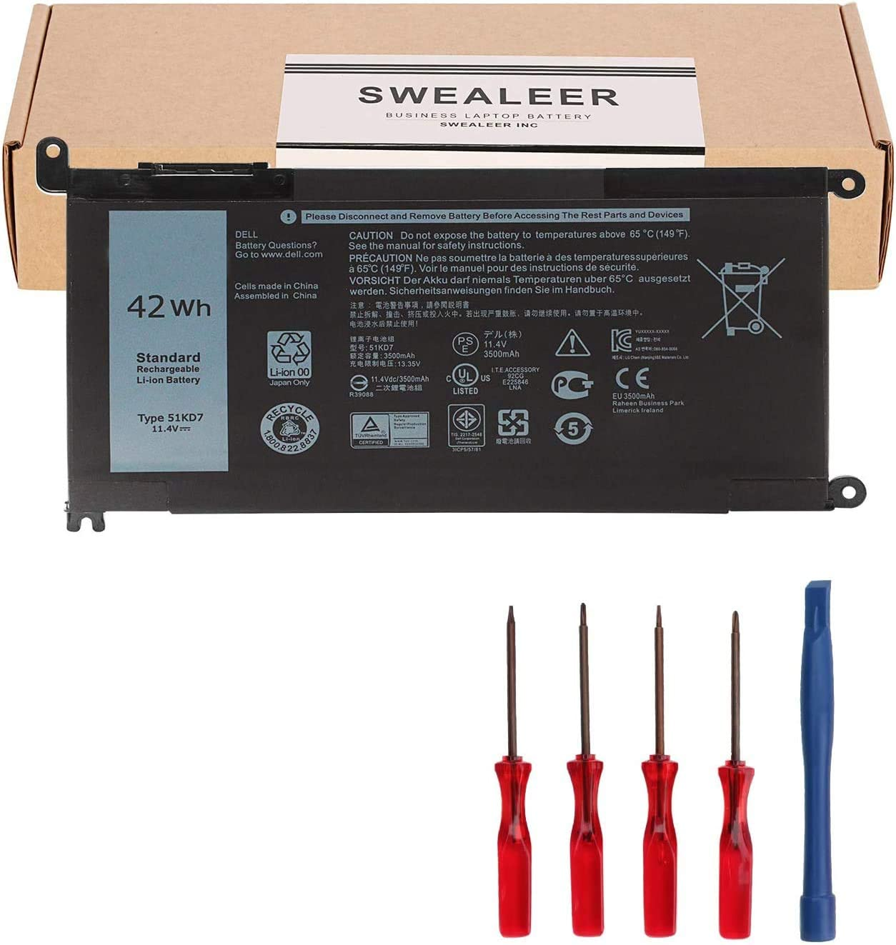 SWEALEER 51KD7 Laptop Battery Compatible with Dell Chromebook 11 3180 3189 5190 3181 2-in-1 Series P28T001 Y07HK FY8XM 0FY8XM [11.4V 42Wh 3-Cell 3500mAh]