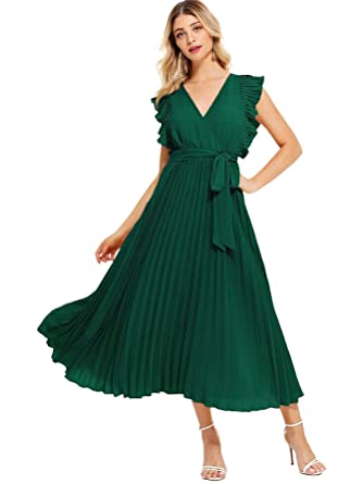 79b15562db Milumia Women Ruffle Trim Wrap V Neck High Waist Fit and Flare Belted  Pleated Maxi Dress