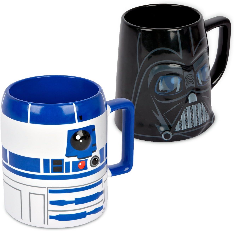 Ideal casa Pack de 2 Tazas de gres. Mugs con Relieve de los Personajes de Star Wars R2-D2 y Darth Vader: Amazon.es: Hogar