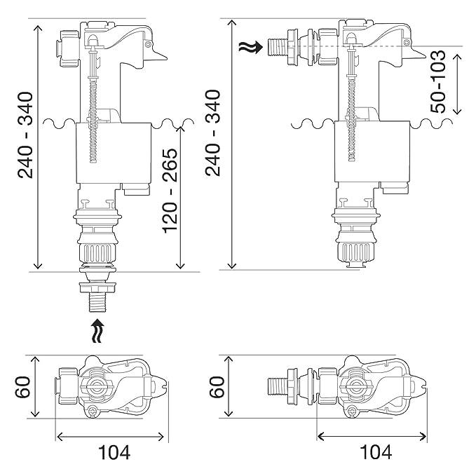 Regiplast - Grifo flotador y mecanismo de lavado, grifo flotador hidráulico de alimentación lateral o inferior 0,95 cm: Amazon.es: Bricolaje y herramientas