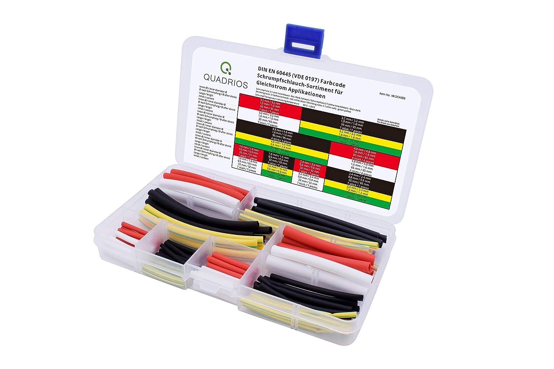QUADRIOS GmbH Lot de 100 gaines thermor/étractables DIN EN 60445 DCDC Code couleur 100 pi/èces haute r/ésistance 3:1 avec colle int/érieure et 2:1 de qualit/é sup/érieure. VDE 0197