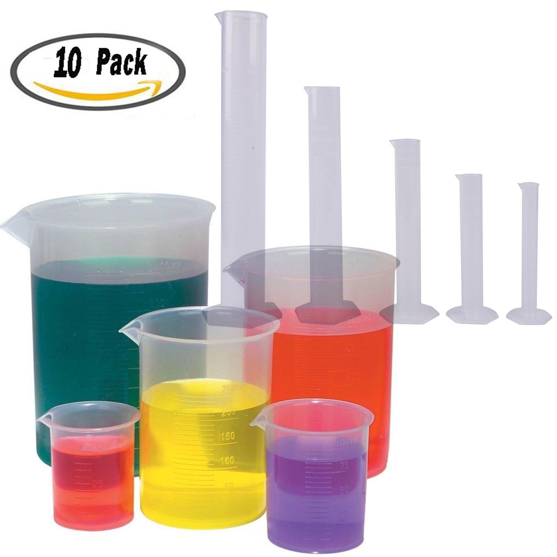 BESTIM INCUK 5 Sizes Clear Plastic Graduated Cylinders (10 25 50 100 250ml) 5 Pack Plastic Beakers Set- 50, 100, 250, 500, 1000ML