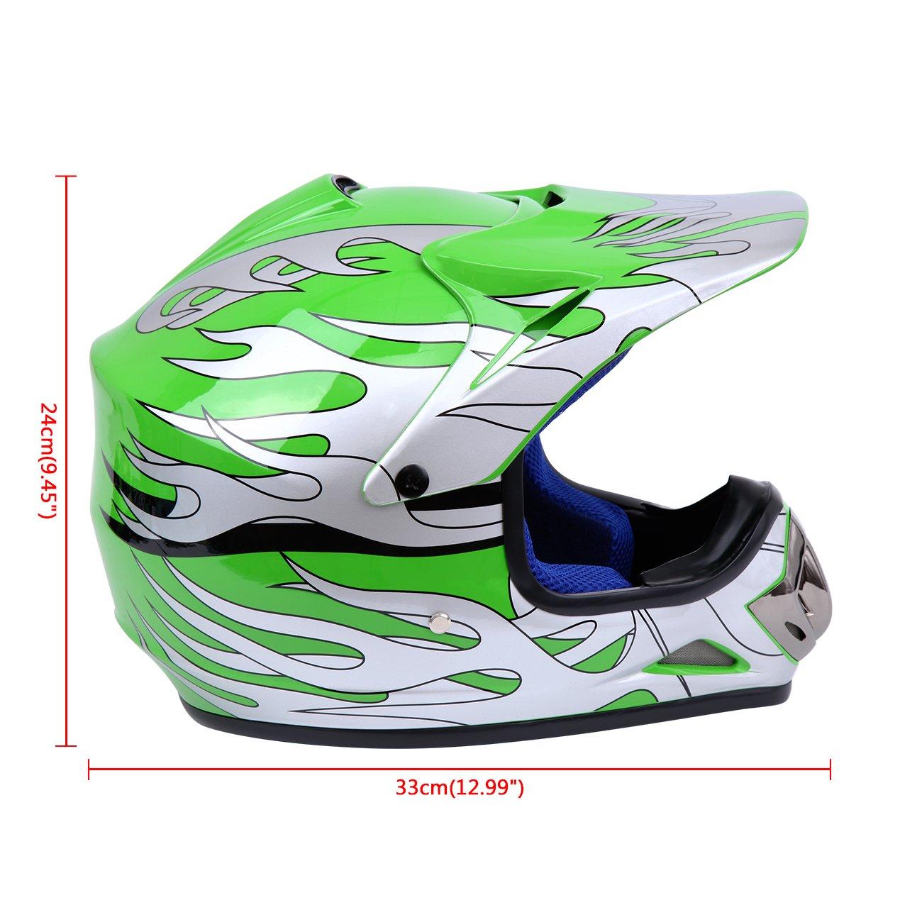 Samger Dot Enfant Casque Hors-Route Casque Motocross Dirt Bike Casque de Moto VTT avec Gants+Lunettes Blanc, L