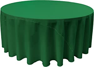 LA Linen Polyester Poplin Round Tablecloth, 120-Inch, Emerald Green, 120