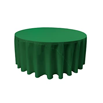LA Linen Polyester Poplin Round Tablecloth, 120 Inch, Emerald Green