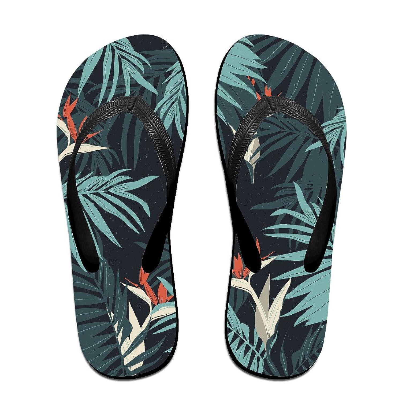 Flowers And Palm Leaves Sandals Flip Flops Black Beach Slippers Light Weight Flip Flops
