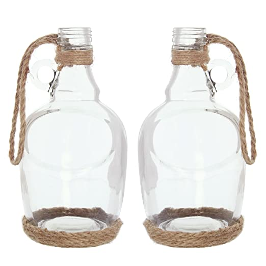 Serie 2 botellas de decoración, vidrio transparente con ...