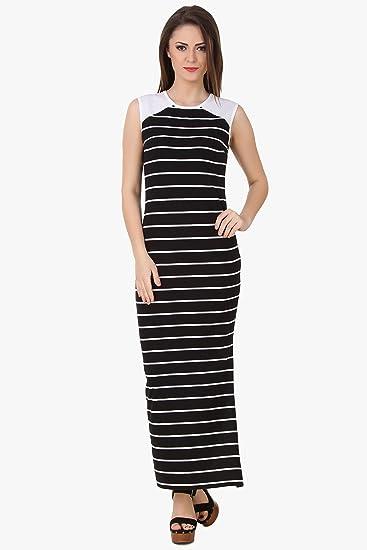 0ece4d2bbd966 TEXCO Women s Cotton Jersey Striped Side Slit Maxi Dress (Black
