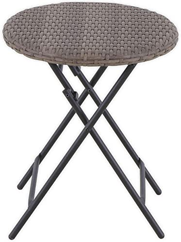 Destination Summer Barrington Wicker Round Folding Patio Accent Table