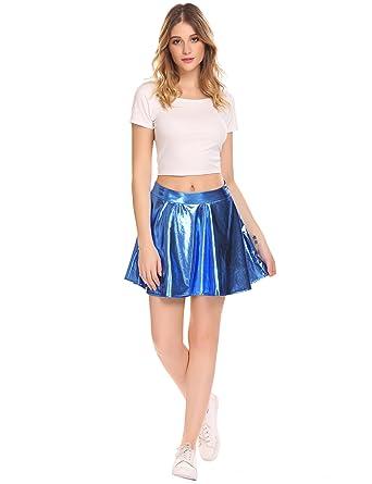6021ba2a7893 Women's Pleated Skater Skirt Shiny Liquid Metallic Wet Look Flared Pleated  Skirt (XL, Blue