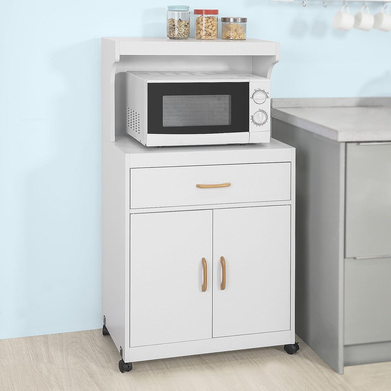SoBuy FSB12-W,Aparador Auxiliar bajo de Cocina para microondas,con 2 Puertas y 1 cajón,L62 cm x P40 cm x H119 cm,ES