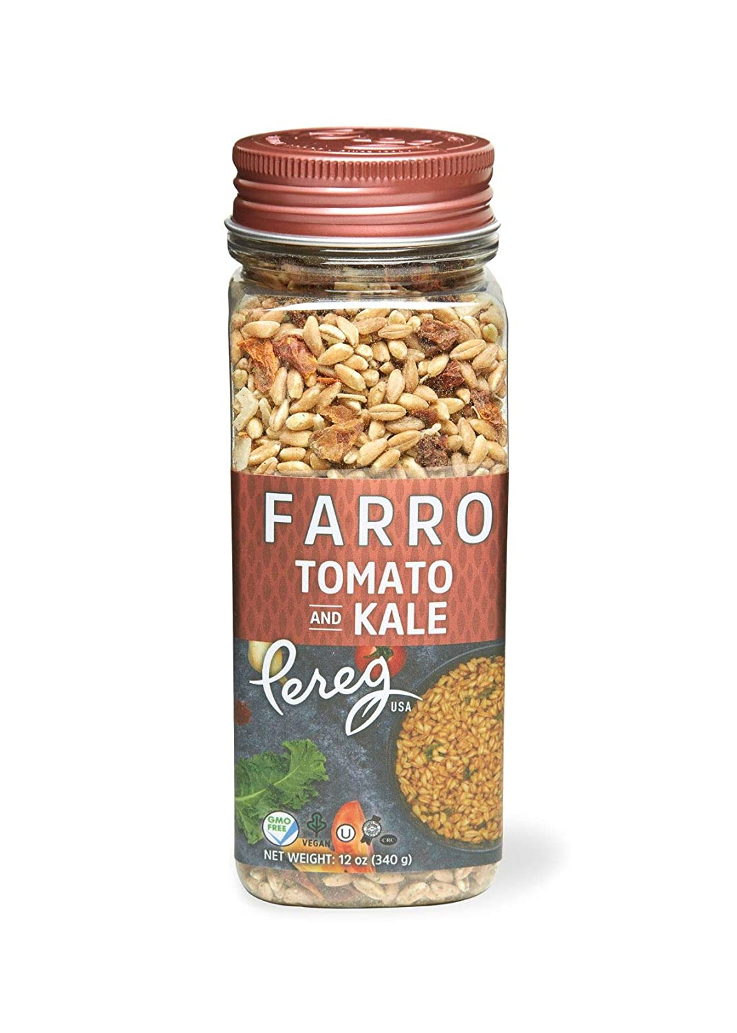 Pereg Farro Whole Grain with Sundried Tomato Canister (12 Oz) - Vegan Gourmet Food - Healthy Quick Meal - Easy to Cook - Perfect Side Dish - Natural Ingredients - Non-GMO -& Kosher Certified