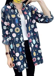 e953de3da1bb7 Romacci Women Long Shirt Foods Print Long Sleeves Turn-Down Collar Button  Down Casual Tops