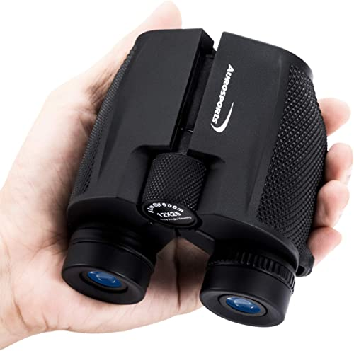 Aurosports 12×25 High Power Compact Binoculars Telescope for Adults Kids with Low Light Night Vision,Lightweight Folding Binocular Gifts for Man for Bird Watching Hiking Travelling Concert Hunting