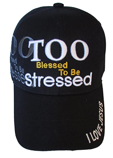 dd81e7efd9c Too Blessed To Be Stressed - I Love Jesus Hat - Religious Baseball Cap  (Black) at Amazon Men s Clothing store