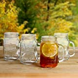 Lily's Home Old Fashioned Vintage Inspired Mason Jar Glasses With Handles Set of 4. 16 Ounce