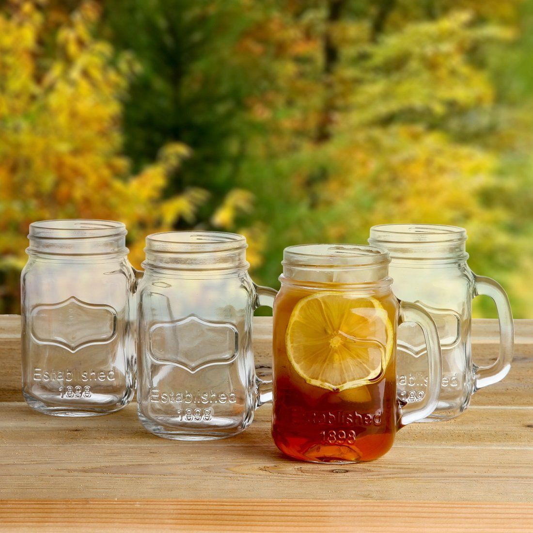 Lily's Home Old Fashioned Mason Jar Mugs with Handles, Vintage Inspired and Great as Old Fashion Drinking Glasses at BBQs and Parties, Clear (16 oz. Each, Set of 4) by Lily's Home