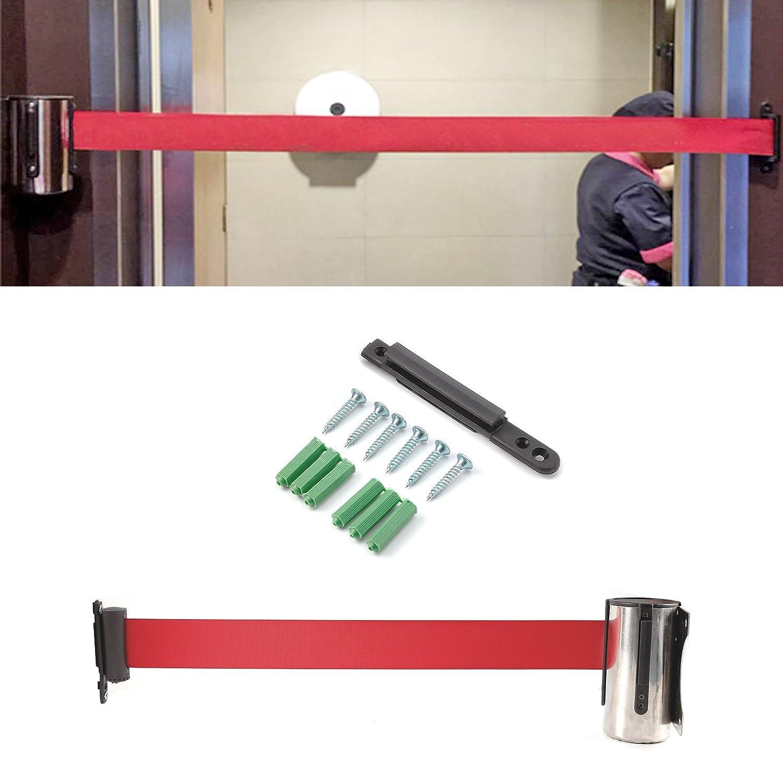 oder Metall-Barriere f/ür Warteschlangen einziehbares Band Rote Edelstahl 2 bis 3 Meter