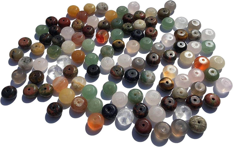 100 piezas de piedras semipreciosas, perlas mixtas de 8 mm, planas, redondas, piedras curativas, joyas preciosas ovaladas, perlas semipreciosas, para manualidades, verdes, aventurina, obsidiana