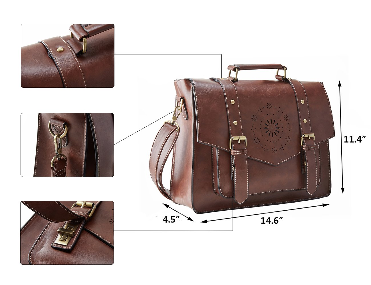 Brown ECOSUSI Womens Briefcase Messenger Laptop Bag PU Leather Satchel Work Bags Fits 15.6 inch Laptops