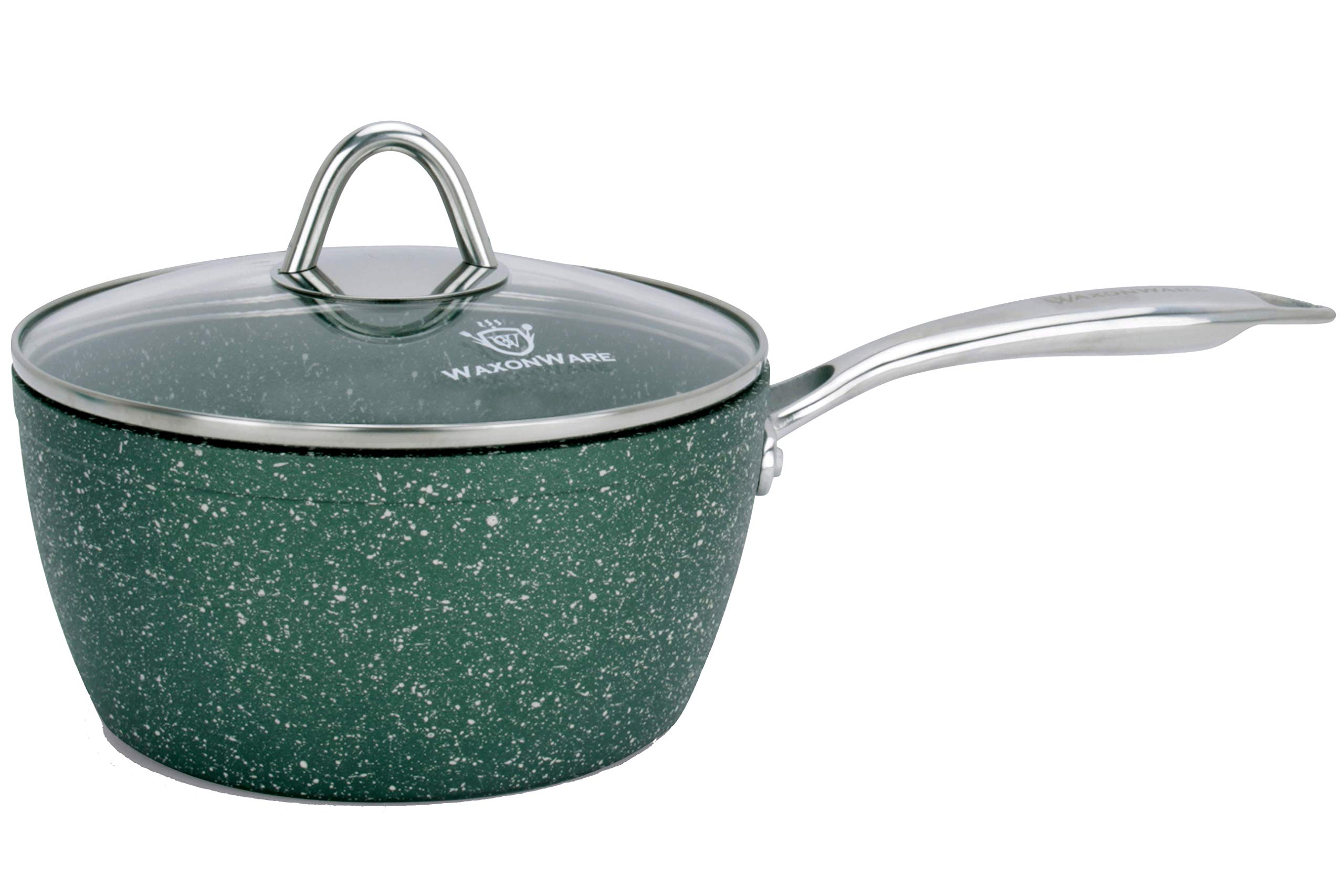 WaxonWare 2.5 Quart Stone Nonstick Saucepan With Glass Lid, Scratch Resistant Non Toxic APEO PFOA Free Nonstick Cookware Cooking Pot, Induction Compatible, Dishwasher & Oven Safe (EMERALD Series) by WaxonWare
