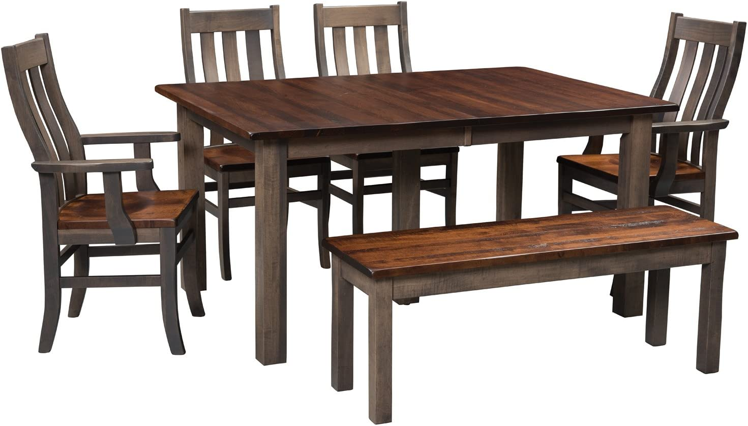 Solid Wood Maple Kitchen Dining Room Table Chair Set 6 - 8, Grey and Brown  Diningroom, Custom Amish Made for Every Day and Holidays, White Glove ...