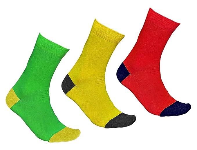 vitsocks Calcetines de Colores Hombre Rojo Amarillo Púrpura Verde o Turquesa ALGODÓN, Joy: Amazon.es: Ropa y accesorios