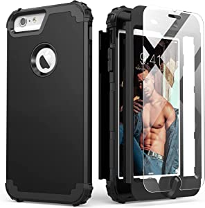 iPhone 6S Plus Case with Tempered Glass Screen Protector, iPhone 6 Plus Case, IDweel 3 in 1 Shockproof Slim Hybrid Heavy Duty Hard PC Cover Soft Silicone Rugged Bumper Full Body Case,(Black)