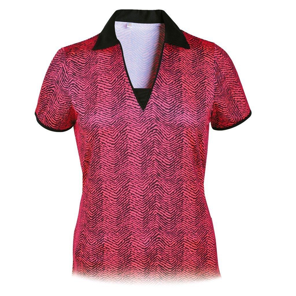 Monterey Club Ladies DryスイングIkat Print Vパッチワークシャツ# 2654 Medium Neon Pom/Black B00T6TEEMG