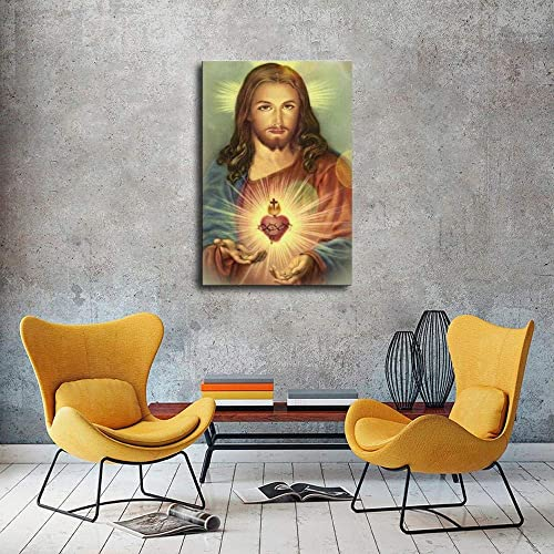 Wall Art Sacred Heart of Jesus Picture Print on Canvas Home Family Decoration Framed and Unframed Mural