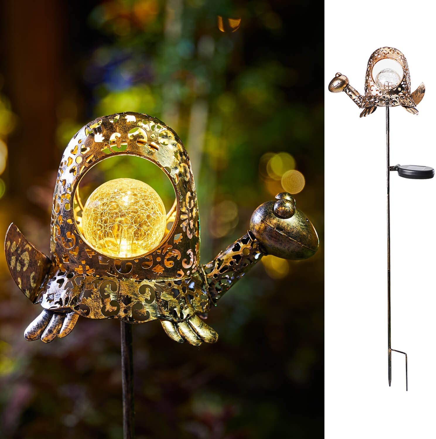 Solar Garden Decorative Lights Metal Turtle Outdoor Stakes Lighting for Courtyard, Lawn, Patio, Pathway Ornament(Bronze)