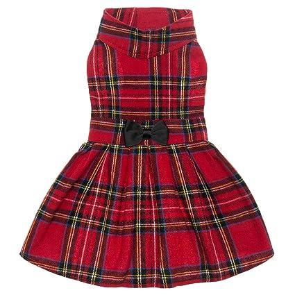 Amazon.com   PUPTECK Classic Plaid Dog Dress Cute Puppy Clothes ... 6c18706431f8
