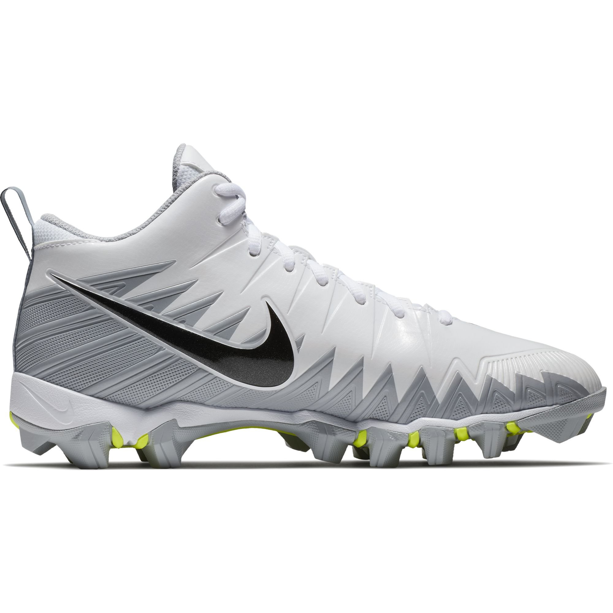 NIKE Men's Alpha Menace Shark Football Cleat White/Black/Metallic Silver/Wolf Grey Size 7 M US by NIKE