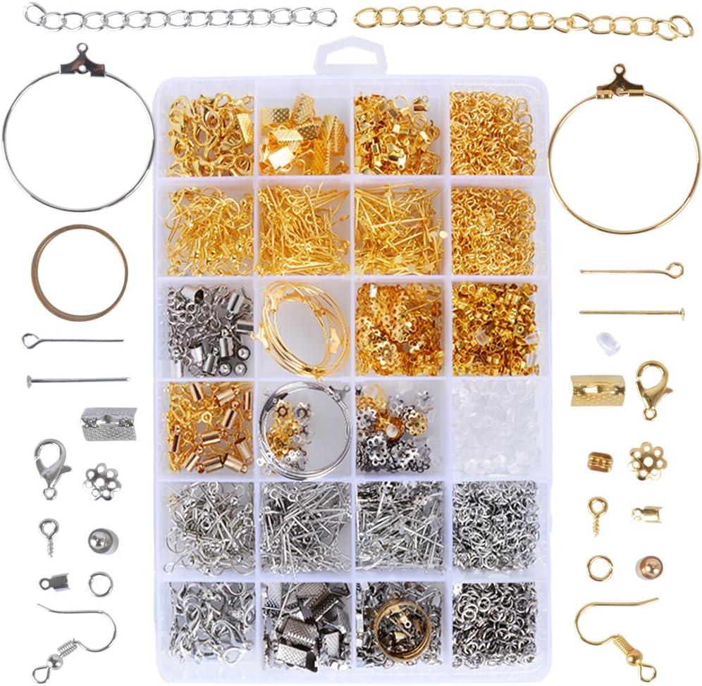 ❤1745pcs Kit Accesorios Joyería Artesanía Fabricación Joyas Material Pendientes Collar Pulsera Color Oro Plata