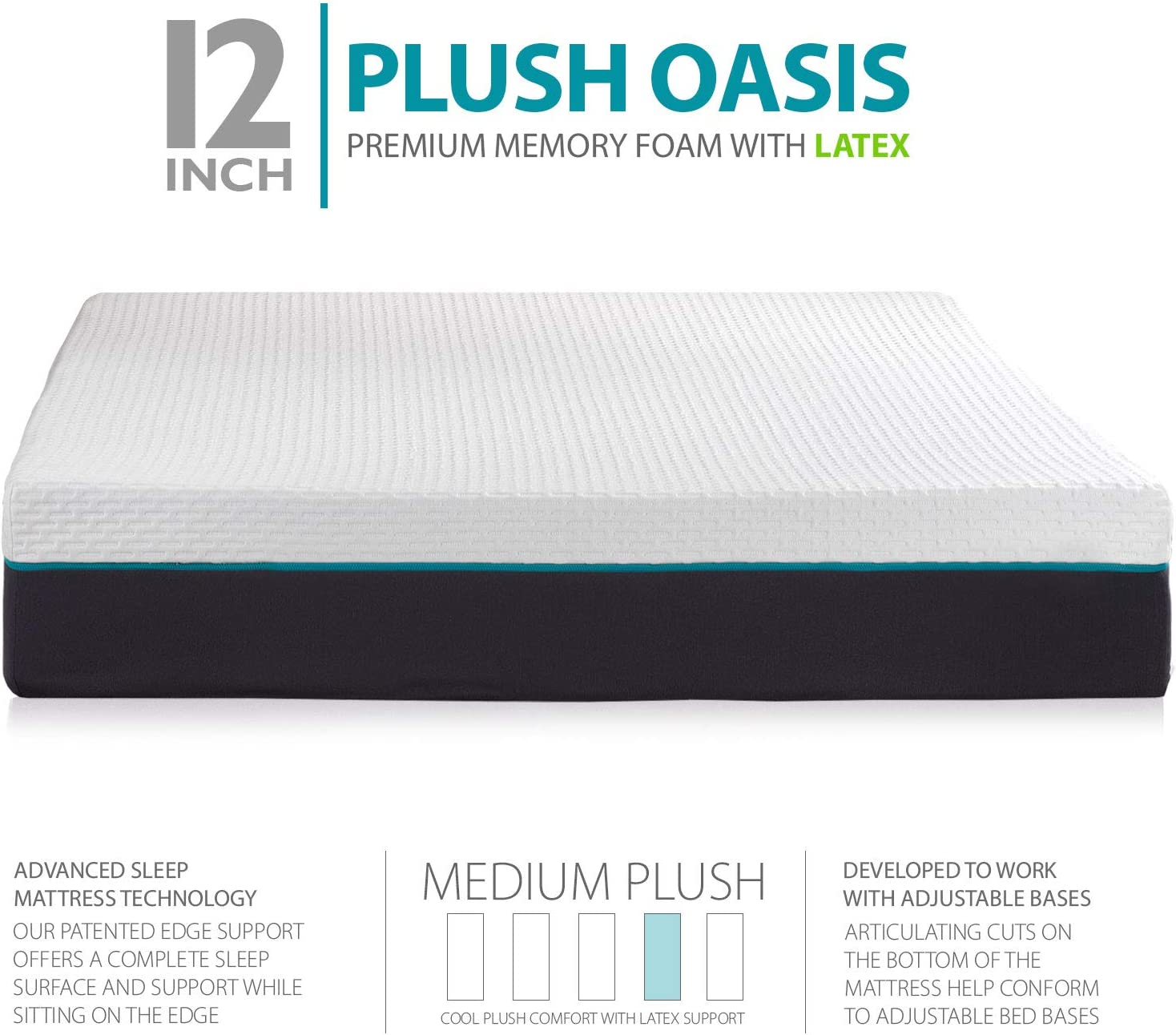 Cal King Split Blissful Nights 12 Premium Cool Medium Plush Ventilated Memory Foam with Latex Support Mattress and Adjustable Bed Frame Combo