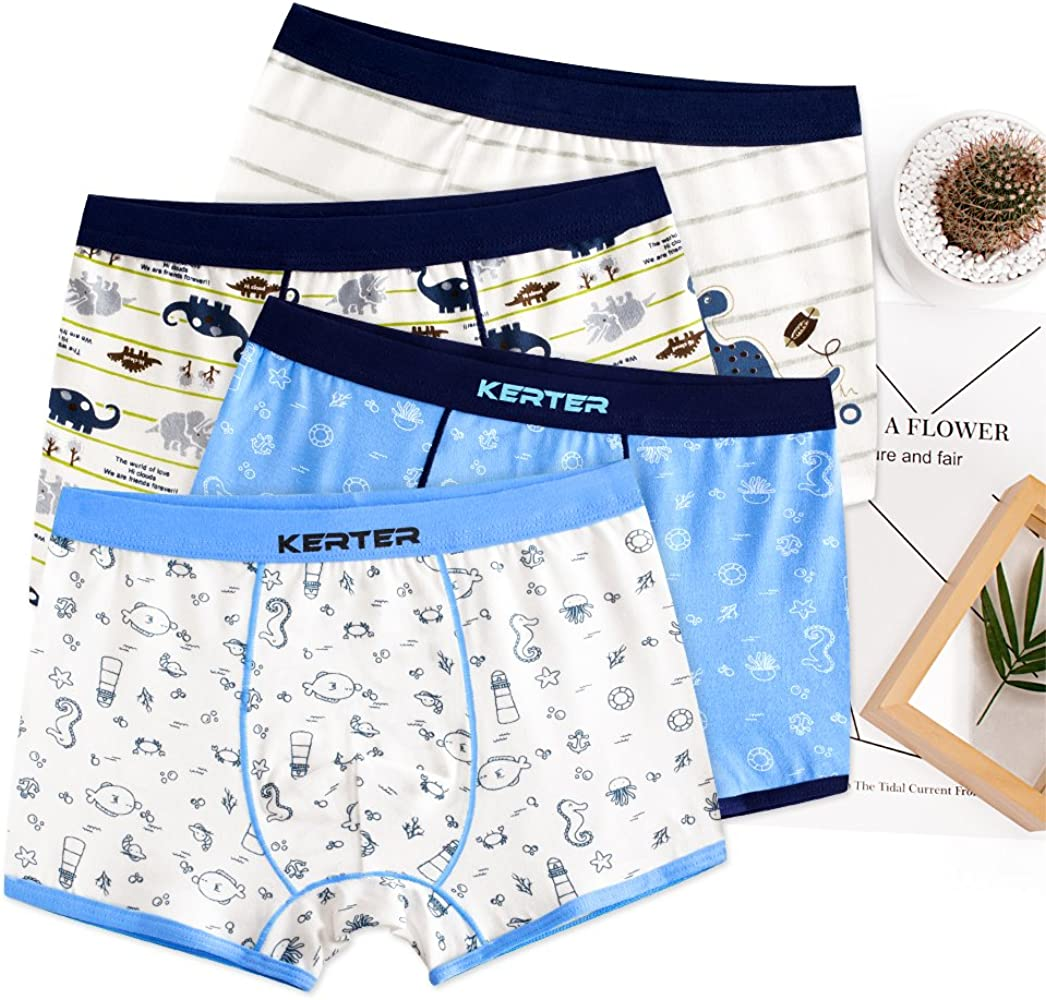 Pack of 6 KEREDA Boys Underwear Cotton Boxer Brief Shorts Dinosaur Truck Underpants with Elasticated Waist for Kids Ages 2-9 Years