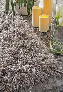 hand woven flokati shag new zealand wool natural grey shag area rugs 4 feet by - Grey Shag Rug