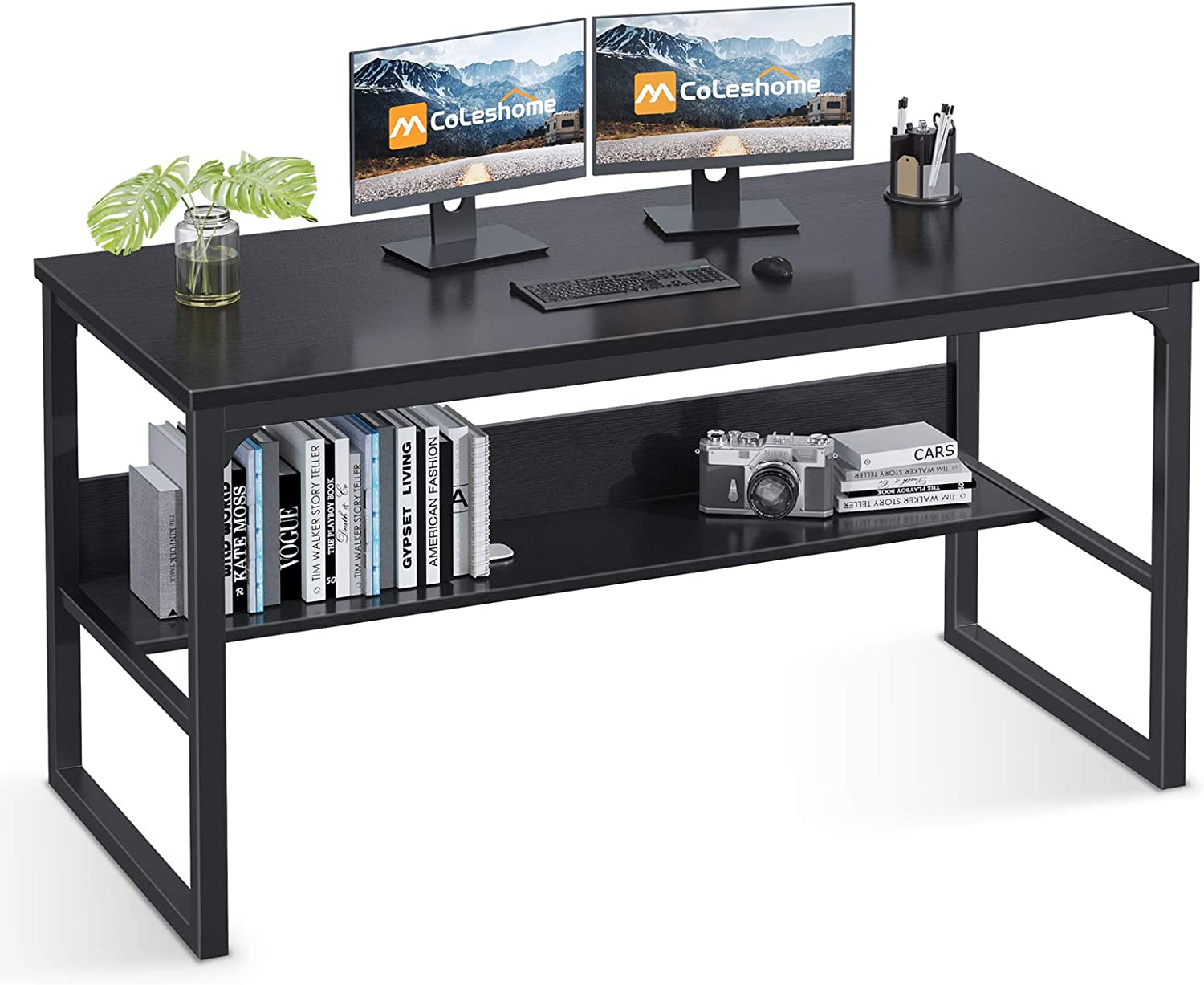 "Coleshome Computer Desk with Bookshelf, 47"" Office Desk with Storage, Super Sturdy Writing Desk for Home Office, Black"