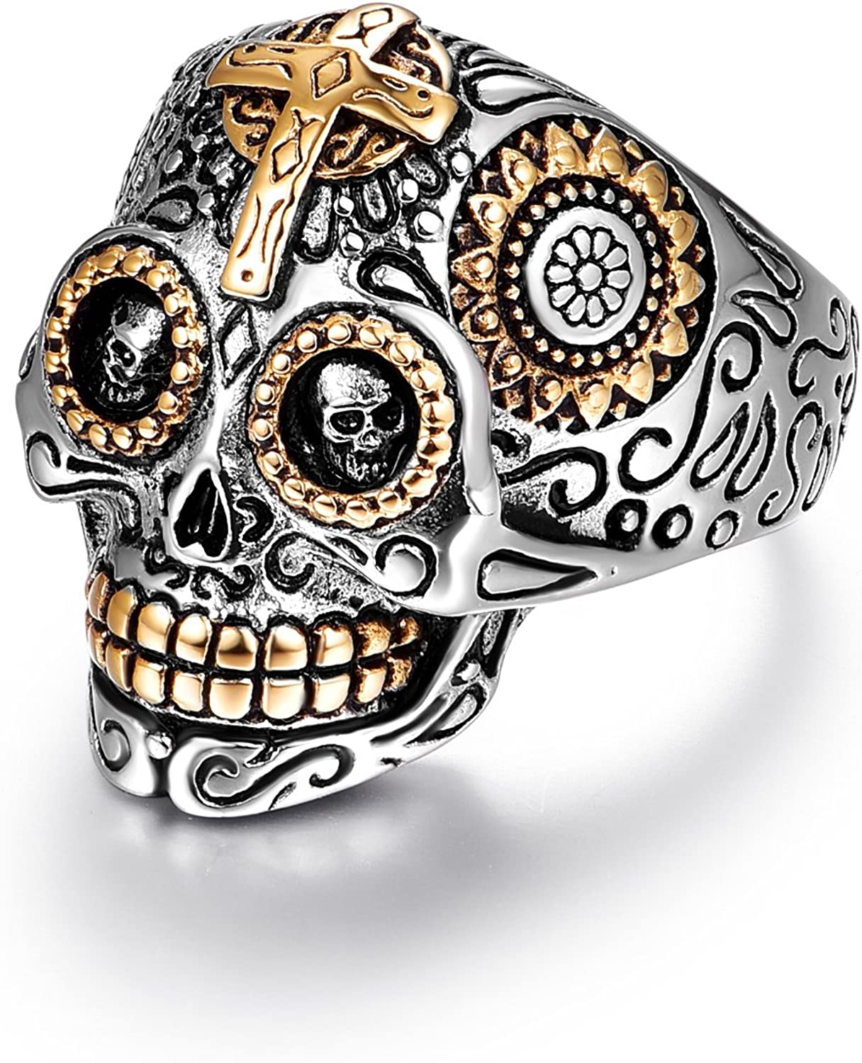 LAOYOU Sugar Skull Rings for Men Women, Stainless Steel Day of The Dead Gothic Cross Mens Jewelry, Biker Cool Ring